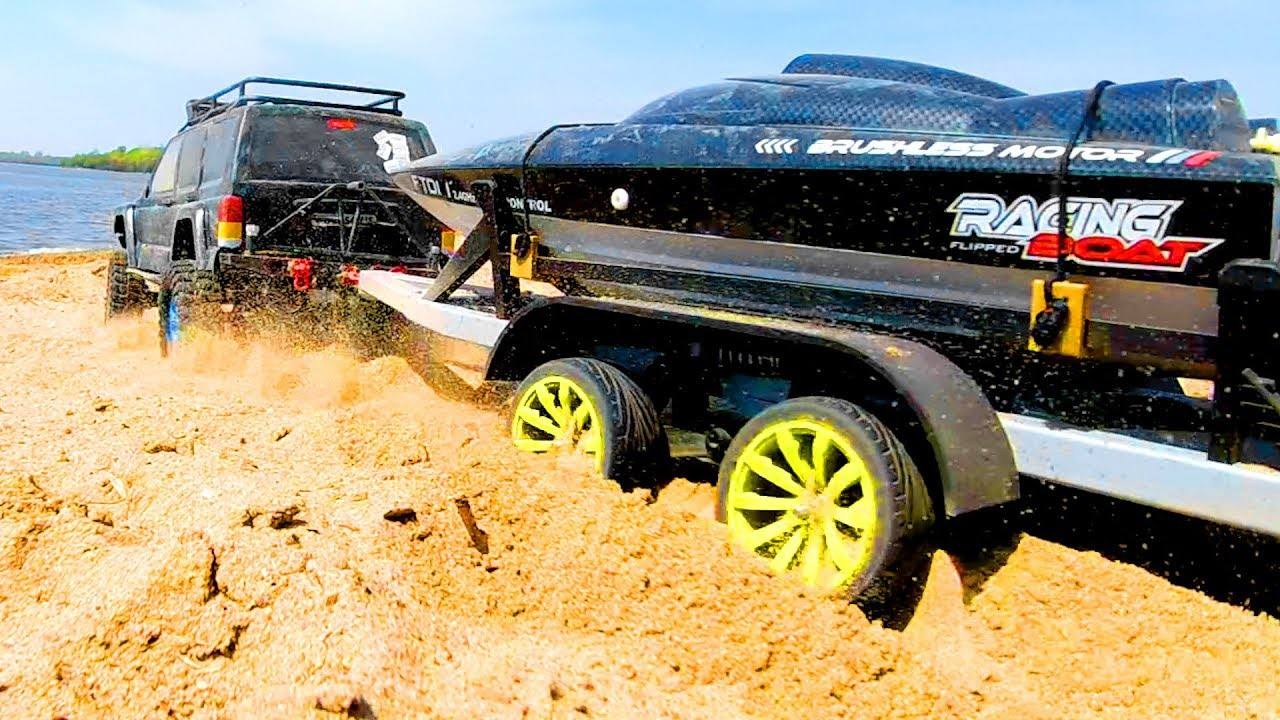 RC Cars Transportation Boat Through Sand by Trailer to the Water - Wilimovich